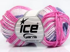 Sky bavlna - růžovofialovobílá