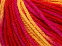 Superwash vlna bulky color - červenožlutofuchsiová