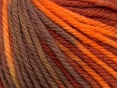 Superwash vlna bulky color - hnědoměděnooranžová