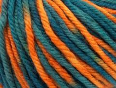 Superwash vlna bulky color - modrozelenooranžová