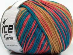 Superwash vlna color - bílákávamodrolososová