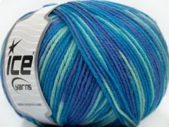Superwash vlna color - modrotyrkysovofialová