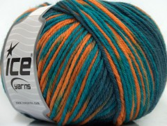 Superwash vlna color - modrozelenooranžová
