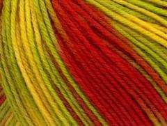 Superwash vlna color - zelenožlutočervená