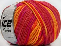 Superwash vlna color - žlutofuchsiovolososovooranžová