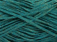 Viskóza ribbon šajn - tyrkysovozlatá