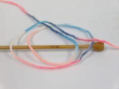 Vlna bulky color - lososovopurpurovomodrobílá