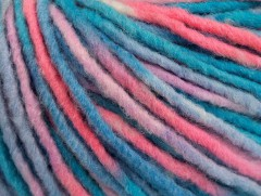 Vlna bulky color - modrolosovobílá
