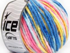 Vlna bulky color - modrorůžovofialová