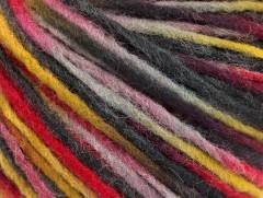Vlna cord aran - červenošedoolivová