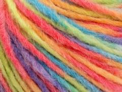 Vlna cord aran - fialovotyrkysovolososovozelenooranžová