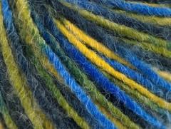 Vlna cord aran - modrozelenožlutá