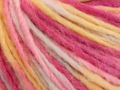 Vlna cord aran - růžovožlutobílá