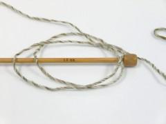 Vlna cord aran - světle khakišedobéžová