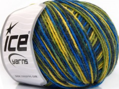 Vlna DK color - modrozelenožlutá