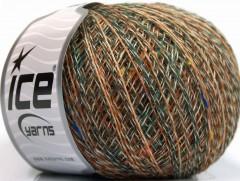 Vlna len tweed - hnědozelenokrémovoduhová