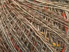 Vlna len tweed - velbloudíšedokrémovoduhová