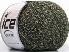 Vlna len tweed - zelenokrémovoduhová