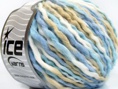 Vlna superbulky color - modrobílobéžová