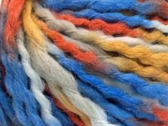 Vlna superbulky color - modrobílooranžovozlatá